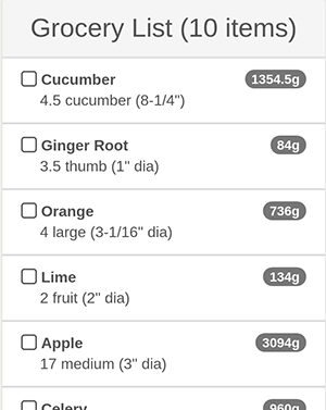 Grocery List Preview